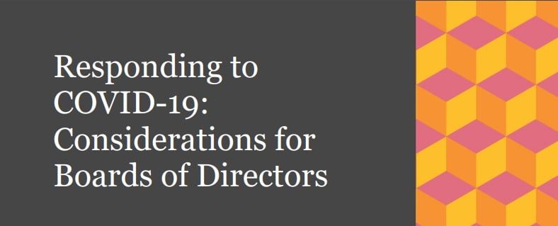 Responding to COVID-19 Consideration for Boards of Directors